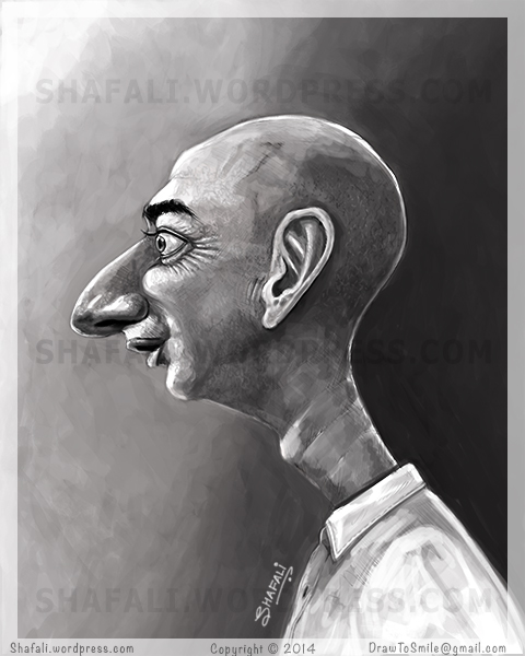 Caricature, Cartoon, Sketch of Jeff Bezos - The Founder and CEO of Amazon, and now owner of The Washington Post.