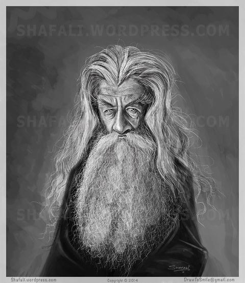 A Caricature, Cartoon, Sketch, Portrait of Gandalf the Grey - The Wizard the Middle Earth - Lord of the Rings - JRR Tolkien
