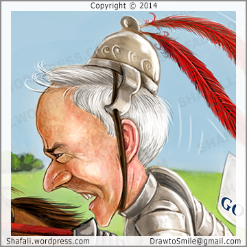 Caricature Cartoon of republican knight Asa Hutchinson - Jousting match for Arkansas Governor Elections 2014 - Illustration for Talk Business and Politics Arkansas.