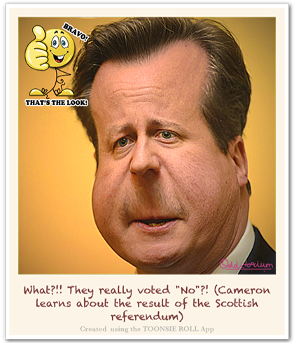 Caricature Cartoon of British PM David Cameron upon hearing the result of the Scottish Referendum (Caricature created using Toonsie Roll - an iOS App for iPhone and iPad.)