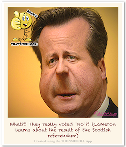 Toonsie Roll Caricature of David Cameron, British Prime Minister. Caricature App for iPhone and iPad.