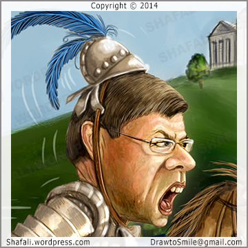 Caricature, Cartoon of Democrat Knight Mike Ross for Arkansas Governor Elections November 4 2014,  for Talk Business and Politics Magazine - Illustration of the Jousting match - Details of the face.