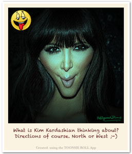 Toonsie Roll Caricature of Kim Kardashian - North and West. Caricature App for iPhone and iPad.