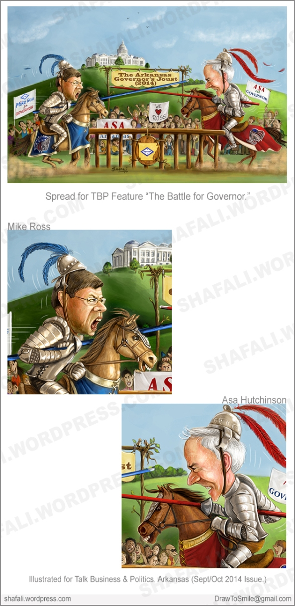 Political caricatures cartoons illustrations - Mike Ross and Asa Hutchinson as Jousting knights - Governor's Election Arkansas - Illustrated for Talk Business and Politics Magazine.