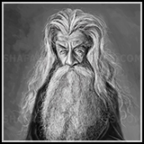 Caricature of Gandalf the Grey from The Lord of the Rings Trilogy- Painted digitally.