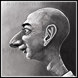 Caricature Cartoon of Jeff Bezos a business tycoon and CEO of Amazon.