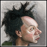 Caricature of Malcolm Gladwell Author of the books - Outliers. Tipping Point - New York Best Seller