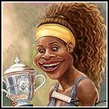 Caricature of Tennis Legend Serena Williams' Caricature with a Cup and Racket.