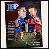 Caricature Composition - Magazine Cover of Mark Pryor and Tom Cotton in a Boxing match - Elections 2014. Illustration for Talk Business and Politics Magazine.