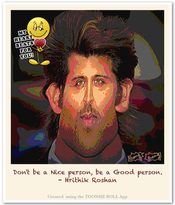 Caricature Hrithik Roshan - Using iOS (iPhone, iPad) caricaturing app Toonsie Roll.
