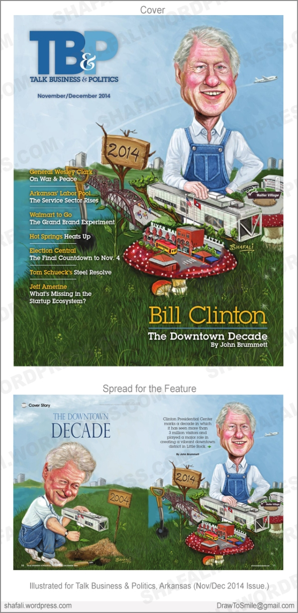 Bill Clinton Cover Art for Talk Business and Politics Arkansas - Clinton Presidential center, River Market, Heifer International, Pedestrian Bridge Illustration.