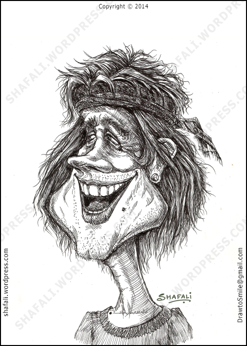 Pen and Ink Caricature of a Gypsy man laughing.