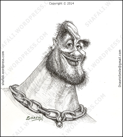 caricature portrait in pen and ink - an escaped convict, a goon, robin-hood, killer etc.