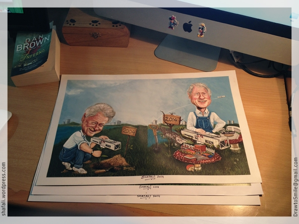 President Clinton's Caricatures by Shafali - Signed Print Presented to him by Clinton Foundation.