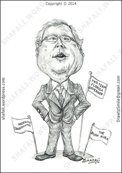 Caricature Cartoon in black and white drawing - US Presidential Elections - Jeb Bush - Republican Candidate