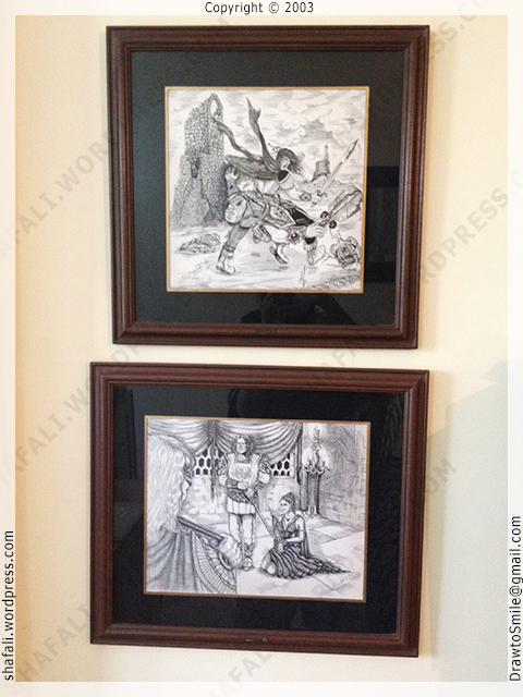 Pen and Ink Fantasy Art: Knight, demon, orc, witch, woman, prisoner, death-sentence - Pen and Ink art.