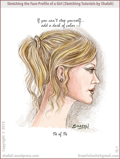 Sketching Tutorials by Shafali - Sketching the facial profile of a beautiful woman.