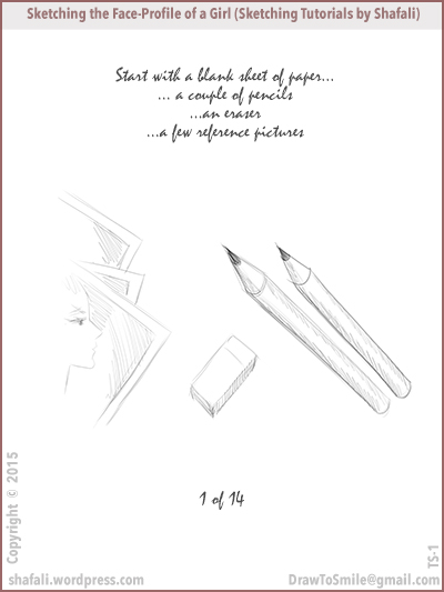 Sketching Tutorials by Shafali - how to sketch the profile of a beautiful woman - step-wise.