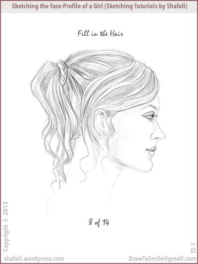 Sketching tutorials - shafali - drawing the locks of hair on a woman's head.