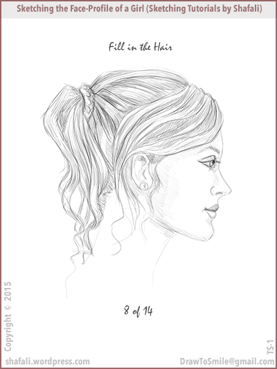 Sketching tutorials - shafali - drawing the locks of hair on a woman's head.