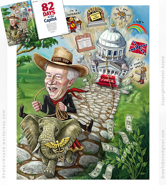 Caricature Portrait of Asa Hutchinson, the Governor of Arkansas, riding an elephant and pulling the state capitol building in a lasso - Inner Illustration for Talk Business and Politics Magazine.
