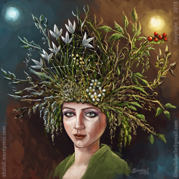 Women Girl Portraits - Face and Hat - Depression - Digital Painting by Shafali