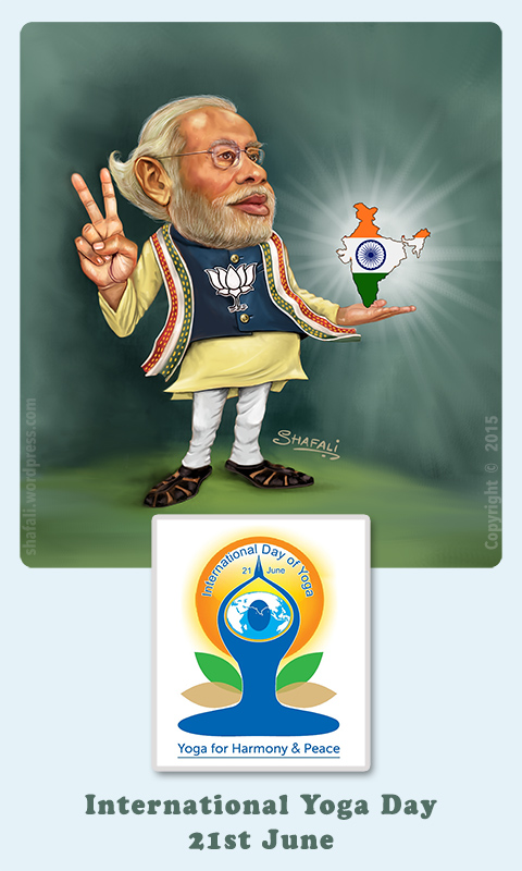 Caricature of Narendra Modi and The International Yoga Day Symbol - June 21