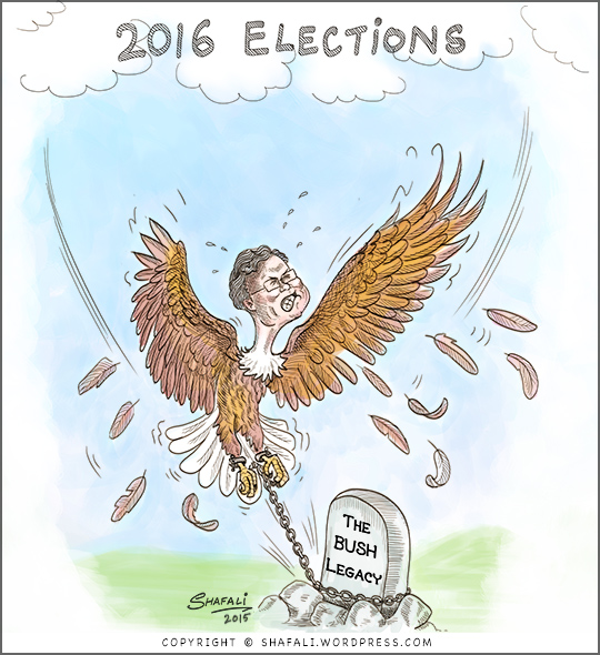 Cartoon Caricature go Jeb Bush as an eagle trying to fly despite the legacy of his name.