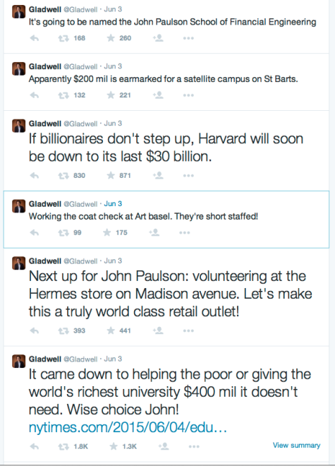 Malcolm Gladwell tweets about John Paulson's $400 Million donation to harvard.