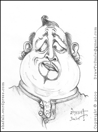 Caricature Sketch of an anxious and worried man - the first caricature.