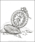 Pocket watch pen and ink drawing - Blogging Creativity Carnival for bloggers - by shafali.