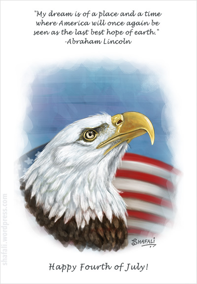 Fourth of July - Eagle on flag background card for Independence Day of America