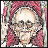 Pen and Ink Caricature of Pope Francis jorge george bergoglio first non european liberal jesuit pope.