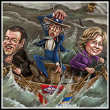 Caricature Composition of Mike Huckabee, Hillary Clinton, and Uncle Sam in a boat - Inner Illustration for Talk business and Politics Magazine.