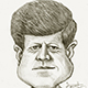 Caricature portrait of John f kennedy - President of United States.
