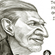 Caricature of famous Indian cartoonist Mario Miranda.