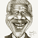 Caricature of Nelson Mandela the South African Leader who fought against Apartheid.
