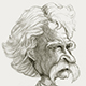 Caricature of the American Writer Mark Twain.