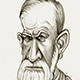 Caricature of Sigmund Freud, the Psychologist Scientist who discovered the Oedipus Complex.
