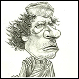 Caricature of Muammar Gaddafi - the dictator of libya who was overthrown by people and killed.