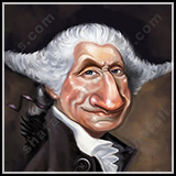 Caricature of First US President George Washington who fought for America's Independence.