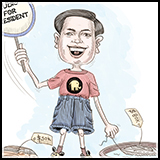 Cartoon of US Presidential Elections 2016 Republican Candidate Marco Rubio.