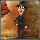 Caricature of Charile Chaplin as Tramp - a painting