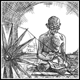 Pen and Ink Drawing of Mahatama Mohandas Karamchand Gandhi bapu with charkha and reading.