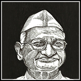 Pen and Ink Portrait of Anna Hazare famous indian activist fighting for lokpal movement and corruption Pen and ink drawing.