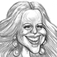 Caricature of Mariah Carey, the hip-hop singer.