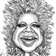 Caricature of Oprah Winfrey - The Powerpack Girl.