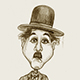 Caricature of Charlie Chaplin as the Tramp.