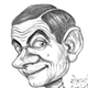 Caricature of Mr. Bean or Rowan Atkinson - British Comedian.