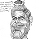 Caricature of The Gorgeous George Clooney and the Squabbling Aliens.